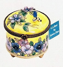 US Postal Stamp Holder Round Bee and Pansy