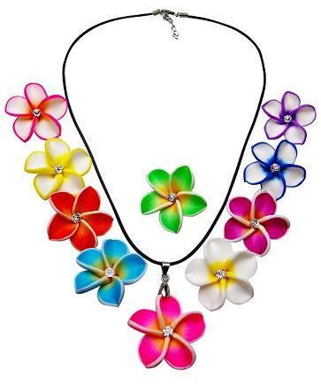 Plumeria Crystal Flower Necklace