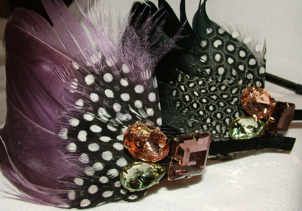 Dazzlicious Wide Feather Headband with Rhinestones