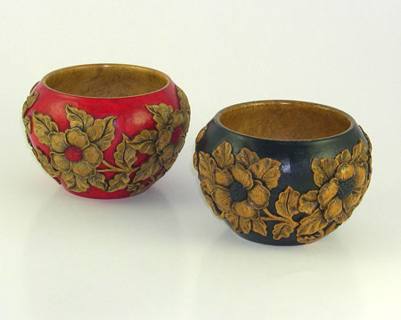 Hand Carved Bowls with Flowering Dogwood Design