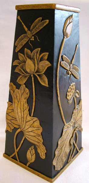 Hand Carved Obelisk Vase with Lotus Design