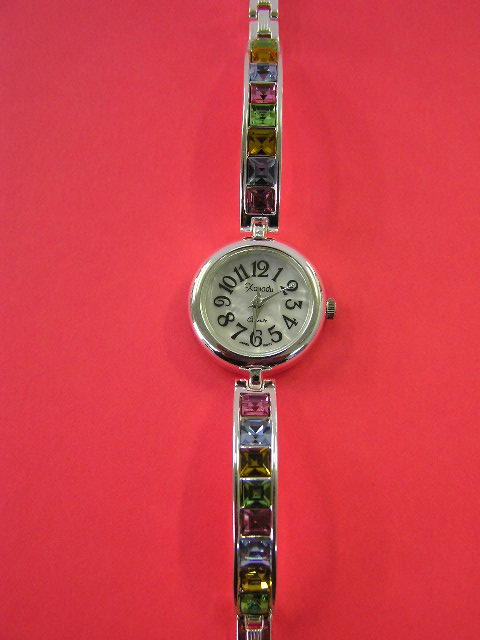 Ladies Single Link Stone Watch Silver