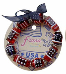 Fiona Stretch Bracelet - USA Flag