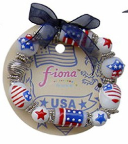 Fiona Stretch Bracelet - USA Flag Heart Star