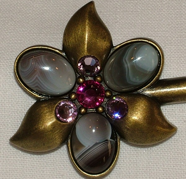 Purse Hanger - Bronze Amethyst Cape with Swarovski Crystals