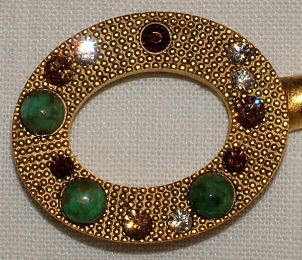 Purse Hanger - Gold Oval with African Turquoise and Swarovski Crystals