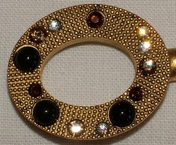 Purse Hanger - Gold Oval with Black Onyx and Swaovski Crystals