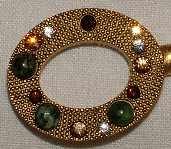 Purse Hanger - Gold Oval with Ruby Ziosite and Swarovski Crystals