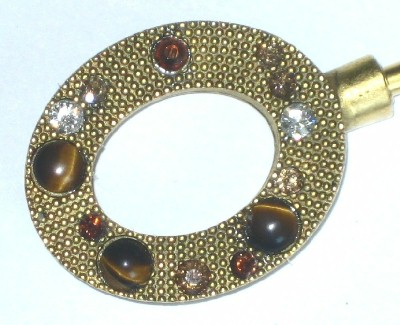 Purse Hanger - Gold Oval with Tigers Eye