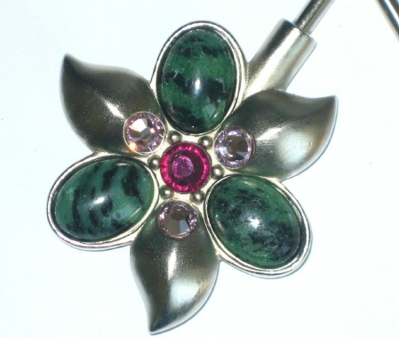 Purse Hanger - Silver Ruby Ziosite with Swarovski Crystals