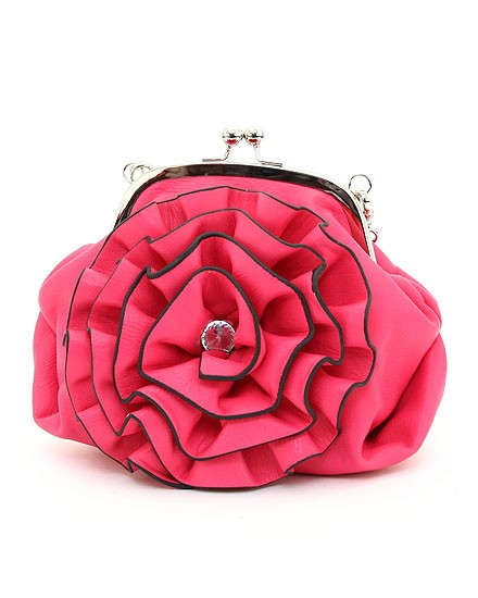 Solid Pattern Flower Accent Clutch- Fuschia