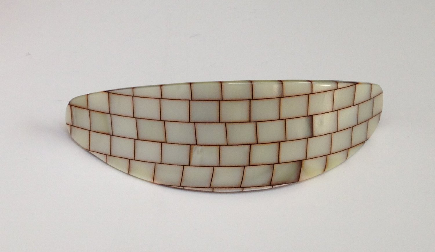Laurent Olivier Curved Barrette Almond Windowpane