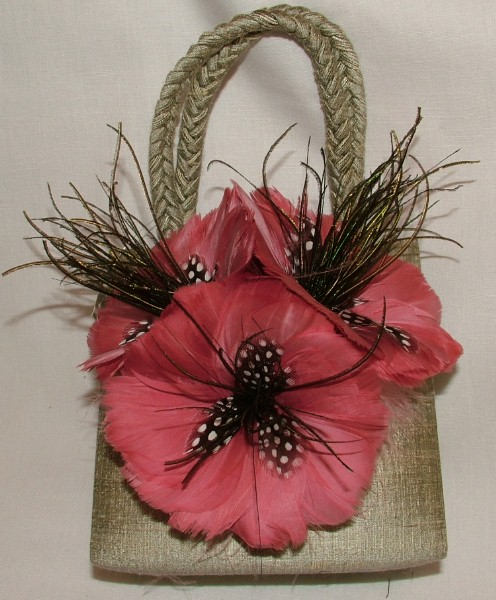 Silk and Feather Handbag - Khaki and Dusty Rose