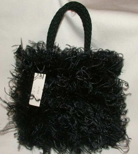 Silk and Feather Handbag - Black Curly