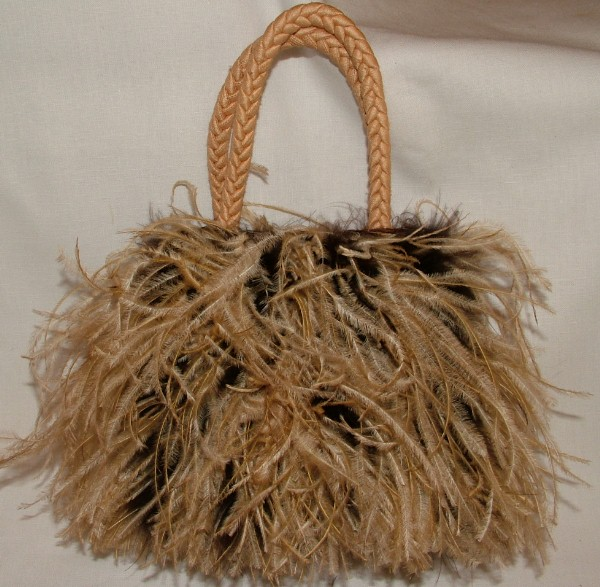 Silk and Feather Handbag - Camel and Brown