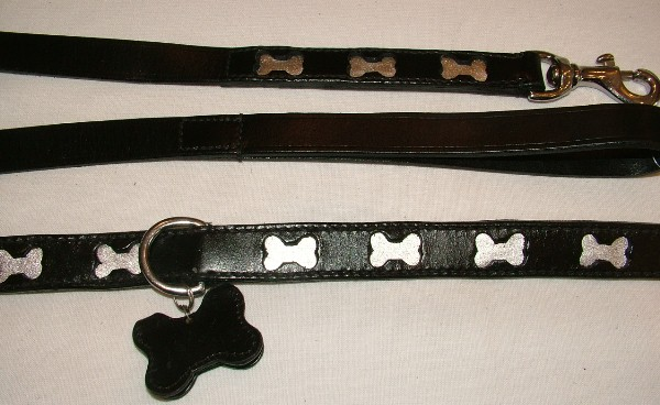Dog Collar and Bone Leash Set