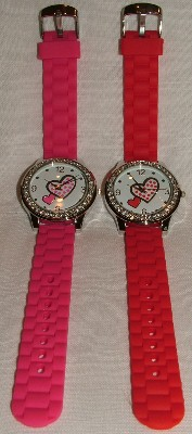 Round Face Silicone Watch - Heart