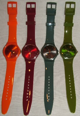 Round Face Thin Band Plastic Watch