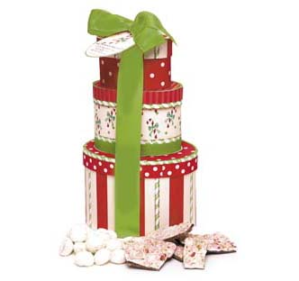 Peppermint Cookies Peppermint Bark and White Chocolate Peppermint Mocha Gift Tower