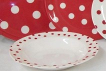 Red and White Polka Dots Melamine 9