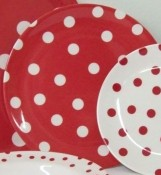 Red and White Polka Dots Melamine 10