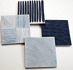 Coaster Slab Set of 4, White and Blue
