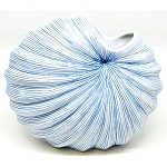 Palm S Vase, White and Blue