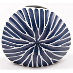 Diva Round Mini Vase, White and Navy