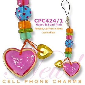 Cell Phone Charm Hearts and Beads Pink