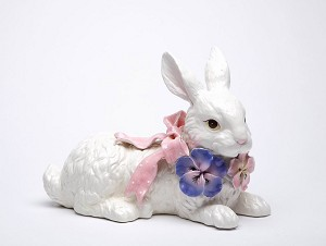 Big Bunny Figure with Pansies